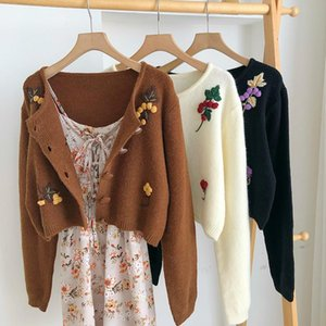 2020 Autumn Winter 3D Hook Flowers Sweater Crocheted Coat Knitted Embroidered Cardigan Puff Sleeve Crop Tops Sueter Mujer
