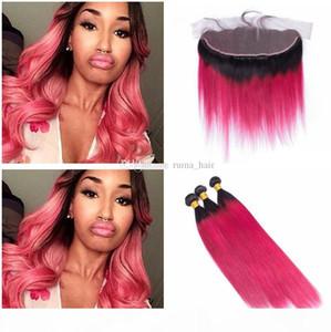 Rose Red Straight человек с волосами Кружева Фронтальной Dark Root Ombre Кружево Фронтальных пачками Silky Straight переплетения человеческих волос