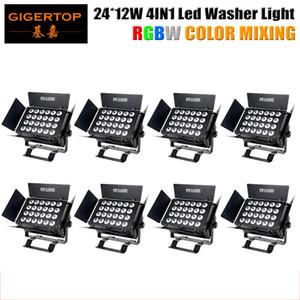 Stage Light Chine Paquet de 8 320W 24 x 12W RGBW LED Lumière d'inondation 4en1 Wall Washer Haute Bâtiment Intérieur annonce Panneau d'affichage non étanche silencieux de travail