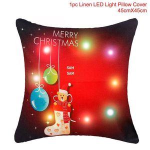 Fengrise 45x45cm Pillow Case Christmas Decorations For Home Santa Clause Christmas Deer Cotton Linen Cover Cushion Home Decor sqcEnA