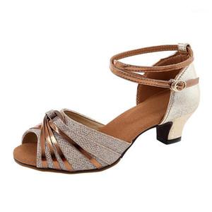 Детские взрослые латинские танцевальные туфли дамы девушка танго / бальный зал / сальса танцующие туфли мягкие нижние упражнения для тренажеры для вечеринок крытые сандалии1