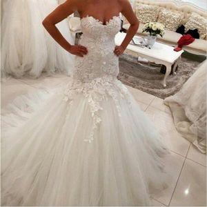 Hot Sales Mermaid Wedding Dresses Tulle 3D Applique Pleats Court Train Sweetheart Lace Bridal Gowns Vestido De Noiva Custom Made W1026