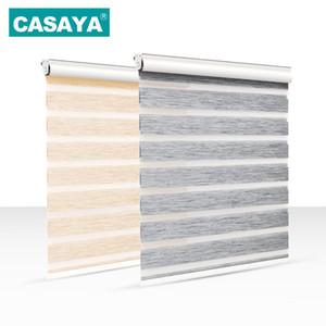 Full Light Shade Roller Blinds Dust Cover Design Thicken Linen Fabric 28mm Aluminum Track Zebra Blinds for Living Room T200718