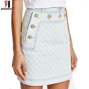 Hageofly Kısa Kot Etek Kadınlar Yeni Varış 2021 Mavi Denim Etek Mini Jean Bir Çizgi Saia Jeans Yüksek Kalite Toptan XL1