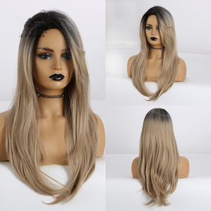 Long Straight Hair Wigs Ombre with Side Bangs for Women Daily Costume Cosplay