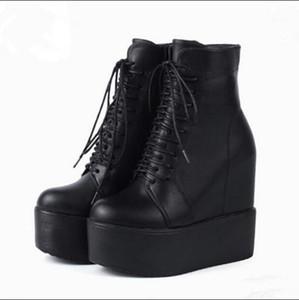 14CM Wedge كعب الأحذية سميكة أسفل الأحذية الجبهة مع رأس جولة سوبر عالية الكعب المرأة 1