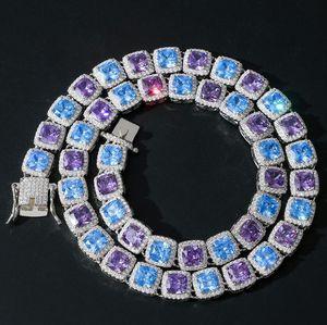 NUEVO COLLAR DE HOMBROS DE HIP HOP HOT HOMBROS DE ALTA CALIDAD 10 MM Color cuadrado azul Púrpura Collar de zircón Blingchain Regalo de la joyería