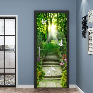 Park pigeon stone terrace door with bedroom living room self adhive removable Waterproof PVC home decoration wallpaper