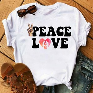 Women Summer Love Peace Fashion Cute Print Ladies T Tee Tshirt Womens Female Top Shirt Clothes Graphic Clothing T shirt