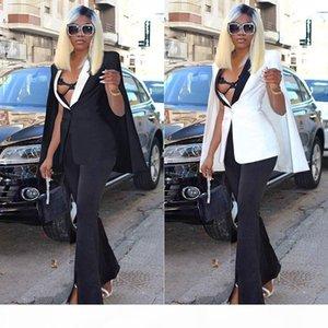 Women cape coat autumn suit shawl Hot sale long cloak coat jacket female suit Contrast deep V top Fashion outerwear coats