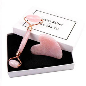 EPACK NEWlicone Tip Mute Stone Pink Quartz Facial Relaxation Slimming Tool Rose Quartz Roller Massager jade massage stone For Face Neck Chin