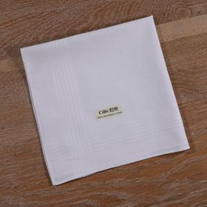 M005: 1 шт белый хлопок сатин Ткань большого размера сшиты HEM Мужские Handkerchief