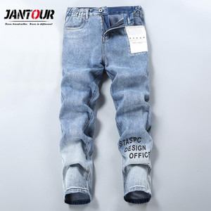 Jantour Brand Autumn Winter Jeans Men 90% Cotton Elasticity Letter Print Youth Straight Blue Trousers Man big Size S-2XL
