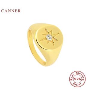 Canner Glänzend Runde achteckige Stern Ring 925 Sterling Silber Anillos Ringe für Frauen Luxus Fine Schmuck Hochzeit Bague Bijoux