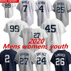 Yankee 99 Aaron Hakim Yeni 2020 York Özel Jersey 45 Gerrit Cole 25 Gleyber Torres Giancarlo Stanton Sanchez Sabathia Dj Lemahieu