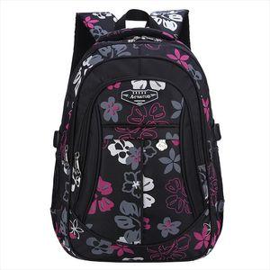 Elementary School Bags Big Capacity Backpack for Teenagers Girls Waterproof Floral Print Kids Bookbag Black Mochilas Escolars