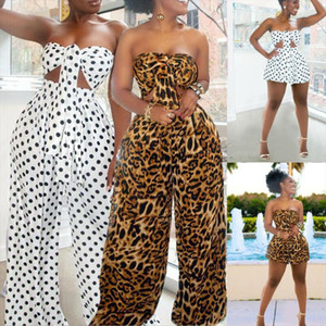 2019 Summer Autumn Women 2 Piece Outfits Sexy Boob Tube Bandage Polka Dot Crop Top Long Pants Set Casual Jumpsuit