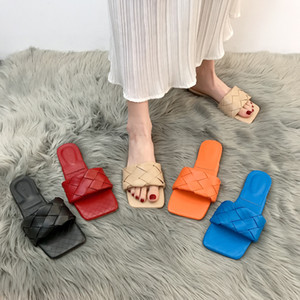Lucyever 2020 New Fashion Weaving Summer Slippers Women Casual Open Toe Flat Sandals Woman Comfortable Beach Slides flip flops F1224
