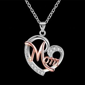 Pendant Necklaces Jewelry Heart Zircon Gold Color Crystal Mother Mom Charm Pendant Long Chain Necklace For Women Christmas Gift Wholesale
