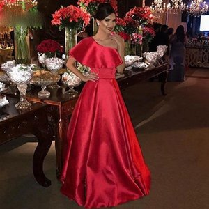 Elegant Red One Shoulder Arabic Party Gowns Simple Satin A Line Prom Dresses Plus Size Formal Women robe de soiree