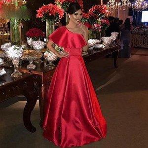 Elegant Red One Shoulder Arabic Party Gowns Simple Satin A Line Prom Dresses Plus Size Formal Women robe de soiree