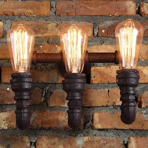 Steam Punk Loft Industrial 2/3 огня ржавчины водяной трубы ретро настенный светильник светодиодный E27 / E26 Sconce освещение для домашней гостиной ванной комнаты
