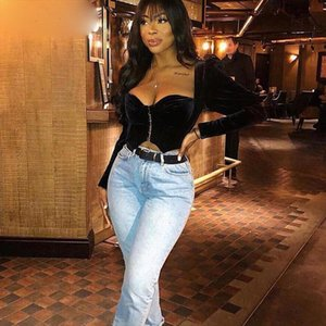 Strapless Velvet Sexy Crop Top Women Fashion Long Sleeve V neck Short Women Tshirt Black Slim Casual T shirt 2020