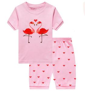 Housewear Girls 'Short Sve Tarjeta Flamingo para niños Pijamas de algodón impreso