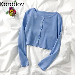 Korobov 2020 Новое Прибытие Женщины Сплошные свитеры Старинные Элегантные Вязаные Кардиганы Корейский Одиночный Одиночный Seher Mujer