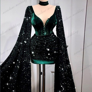 Hunter Green Short Prom Dress Long Flare Sleeves Sequins Sparkly Hunter Green Cocktail Party Gowns Formal Evening Party Gowns