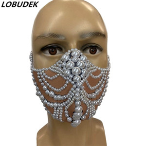 Rhinestones Jewelry Pearls Mask Performance Accessories Male Female DJ Singer Dancer Party Show Nightclub Stage Masks Ornament 1007