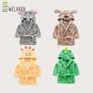 Welaken Baby мультфильм животных халат для животных мальчиков девушки пижамы детские пижамы динозавров Pijamas Flannel детей мультфильм халаты Y200325