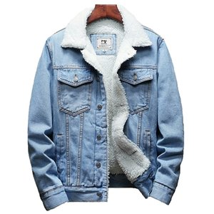 Casual Jacket Denim Men cor do inverno New Grosso Quente Fashion Boutique Sólido / Lã Masculino Denim Brasão Tamanho Grande S-6XL 201004