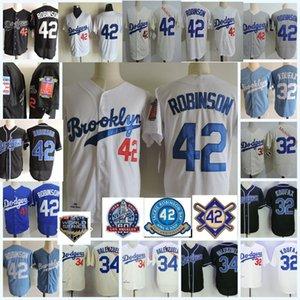 Hombre 1955 Brooklyn # 32 Sandy Koufax Jersey Stiched White Blue Cream # 42 Jackie Robinson Jersey # 34 Fernando Valenzuela Jersey S-3XL