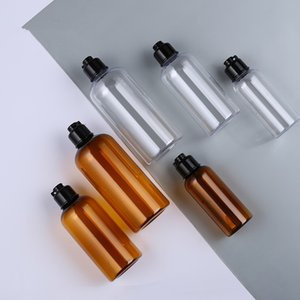 30pcs / lot alta qualidade 100ml 200ml 300ml Limpar / Garrafas Âmbar cosméticos com preto flip top, cosméticos de luxo garrafas de plástico PET