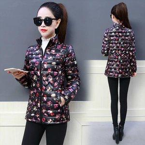Moms printed Down Cottoun jacket Fashion streetwear plus size 5XL stand collar puffer Jacket Casual slim waist printed coat
