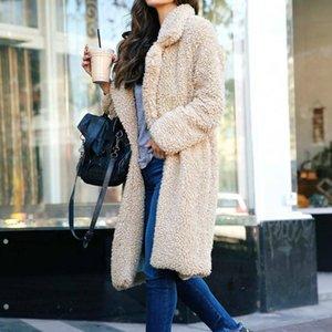 Long Cardigan Coat women Fleece Lapel Open Front Warm Winter Outwear Jackets women overcoat fashion clothes will and sandy new