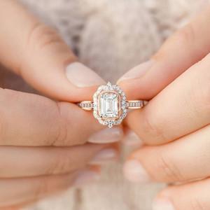 Горячая розовое золото Зиркона Драгоценный камень квадратный алмаз принцесса кольцо Лучший модный участок женский подарок ювелирных изделий