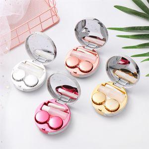 Padrão de mármore portátil superfície de contato de superfície de lente redondo tampa do espelho de contato estojo de recipiente de viagem