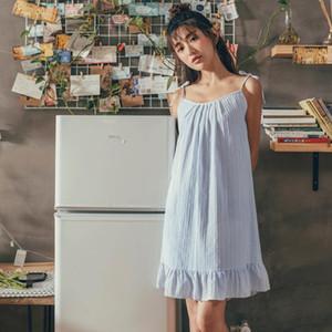 Sommer Lovely Girl Cotton Spaghetti Strap Sexy Nachtwäsche Striped Frauen-Wäsche Nightgown ärmelSleepNachtKleid