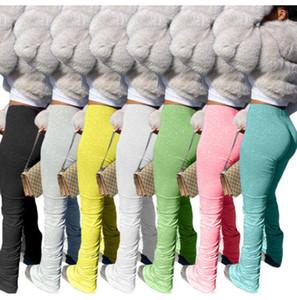 Mulheres leggings flare cintura alta cintura empilhada calças hip hop calças sexy fold night party rua clube sweatpants slife fundos esportes calças 8802
