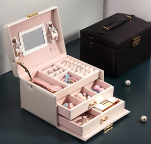 Small Jewelry Box Necklace Storage Case Cabinet Armoire Storage Box(Length:17.5cm 6.8inch,Width: 14cm 5.5inch,Height: 13cm 5inch)