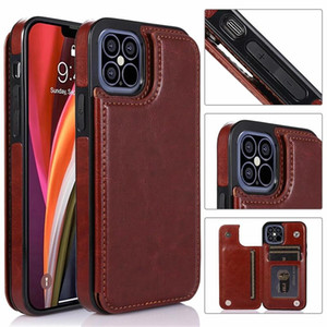 Luxury Vintage PU Leather Case for iPhone 12 11 Pro Max Wallet Case for iPhone XR Xs SE Cover Kickstand with Card Slots