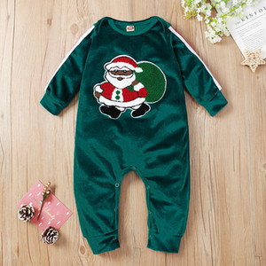 Baby Girl Boy Jumpsuit Christmas Santa Claus Printed Long Sleeve Boutique Born Green Romper Ins New
