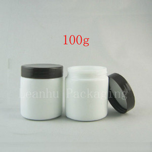 High quality 100G white glass Jar,cosmetic bottle,makeup cream bottle with black cap 5pc lot