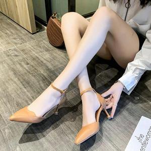 Moda Fibbia donne pompa a punta le dita dei sandali degli alti talloni Estate Ufficio Pu pelle sottile Tacchi alti Donne tacco a spillo sandali d9da #