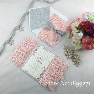 1full Set Blume Design Hell Rosa Pearl Hochzeitseinladungskarte mit Gleiter Papier Recycling arabischer Hochzeitsgrüfung danken Ihnen