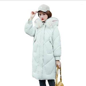 Женщины Parkas женщины белые мода 2021 корейская версия колена в длинном участке тонкий хлопок женские куртки1
