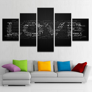 Canvas Wall Art Pictures HD Prints 5 Pieces Love Letters Poster Multinational Love Quotes Painting Living Room Decor