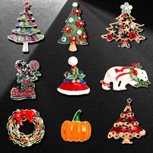Bijoux de Noël cerf Polar Bear Halloween Pumpkin Huile Drop Broche Christmas Christmas Strass Broche Pin Pearl Broches